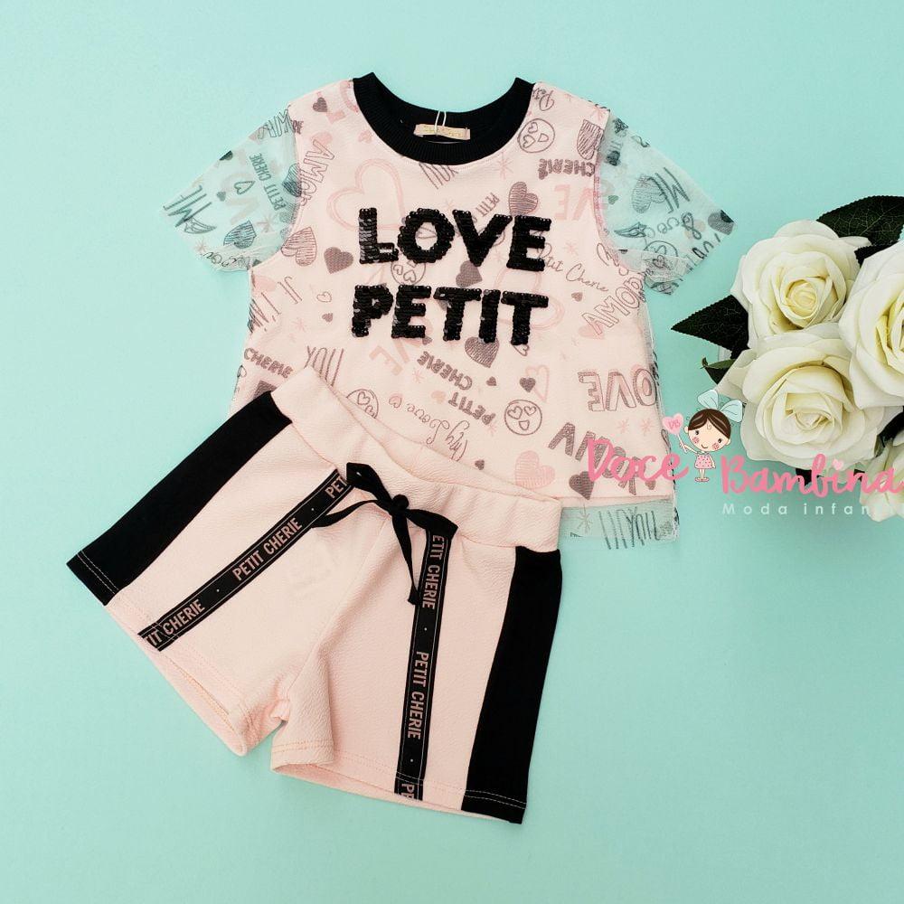 Conjunto Petit Cherie Blusa e Short Love Petit