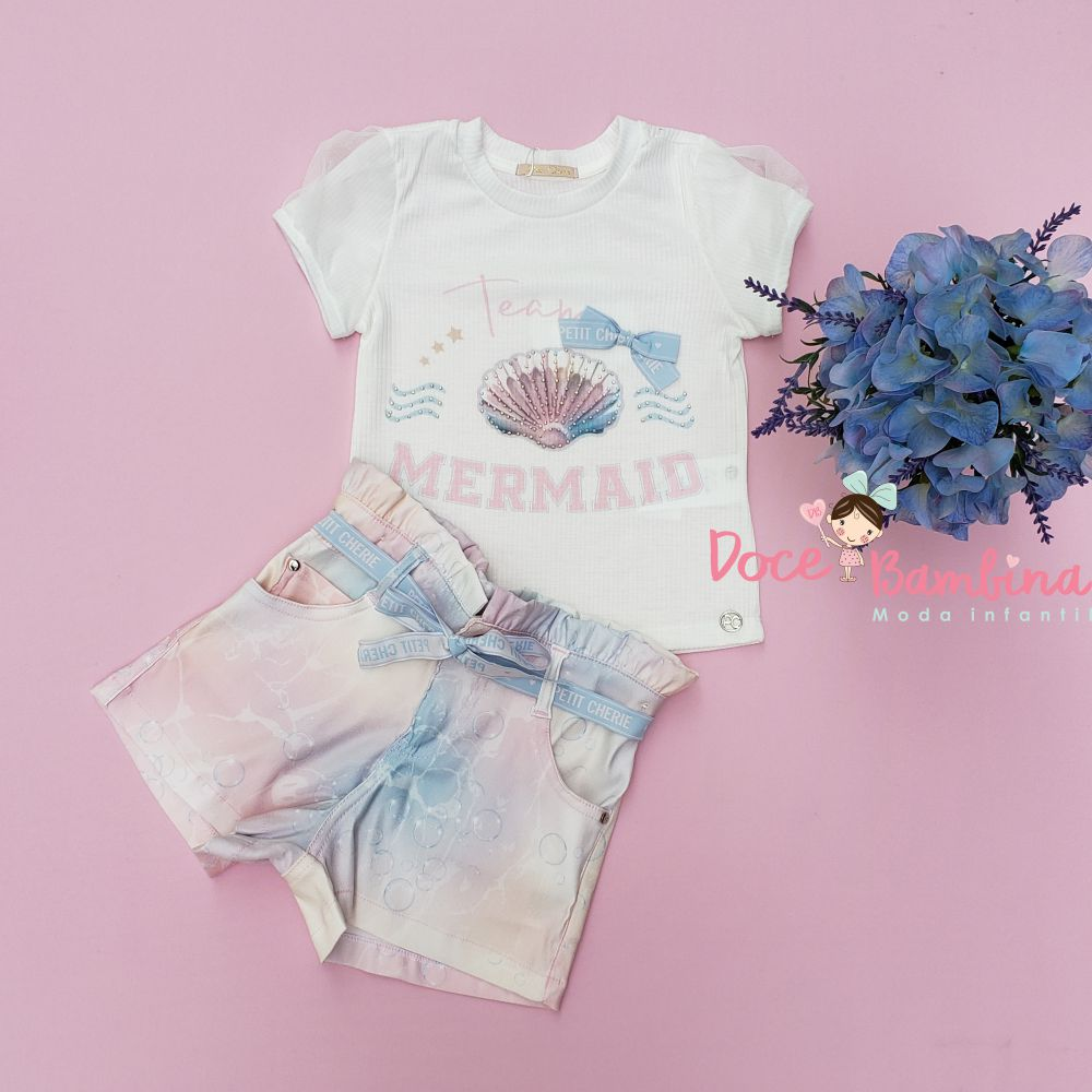 Conjunto Petit Cherie Blusa e Short Team Sereia