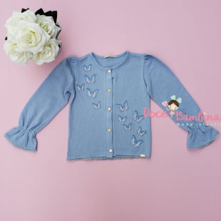 Casaco Petit Cherie Infantil Azul Bordado