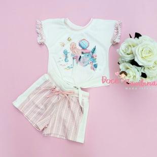 Conjunto Petit Cherie Blusa e Short Sereia Rosa
