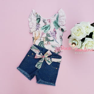 Conjunto Petit Cherie Body e Short Safari