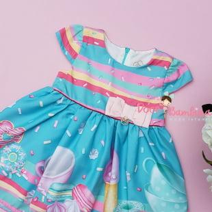 Vestido Mon Sucré Bebê Candy Land com Calcinha