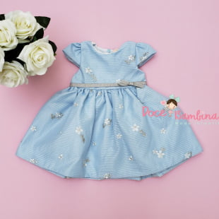 Vestido Petit Cherie Bebê Azul Bordado