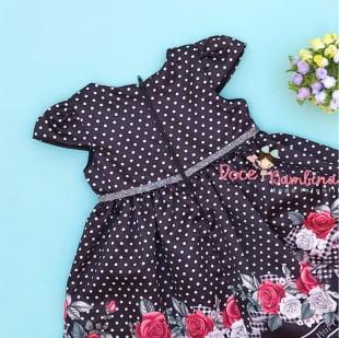 Vestido Petit Cherie Bebe Poá Preto