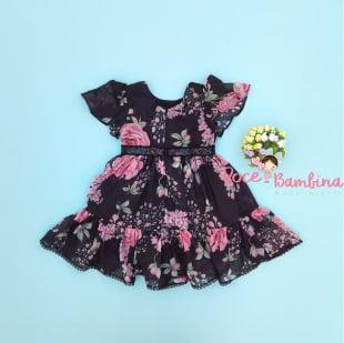 Vestido Petit Cherie Bebe Floral Black