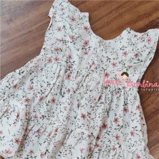 Vestido Petit Cherie Bebe Natural de Tricoline Estampado