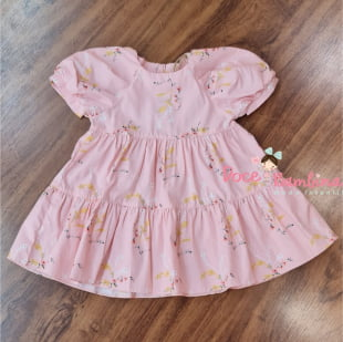 Vestido Petit Cherie Bebe Natural de Tricoline Rosa