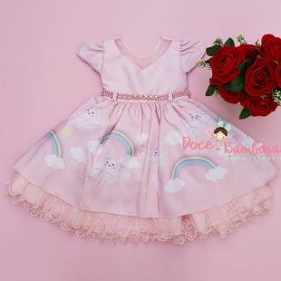 Vestido Infantil Chuva de Amor Rosa Luxo