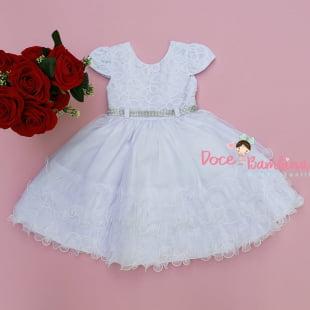 Vestido Infantil Branco Batizado Daminha