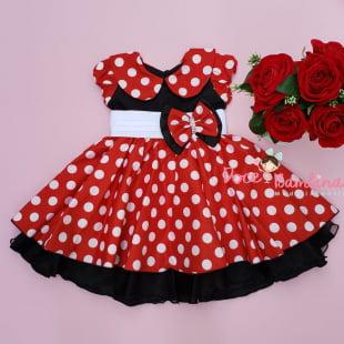 Vestido Infantil Minnie Vermelho e Branco Bambina Fashion