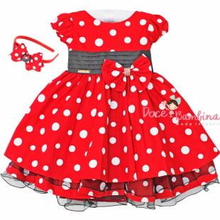 Vestido Infantil Minnie Vermelho e Branco Menina Bonita