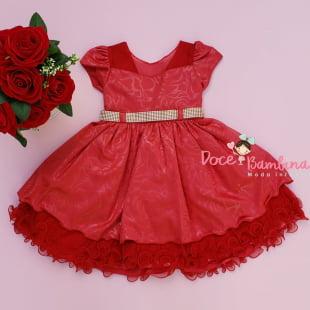 Vestido Infantil Vermelho Texturizado