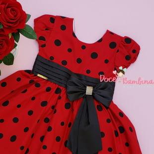 Vestido Infantil Minnie Vermelha e Preto