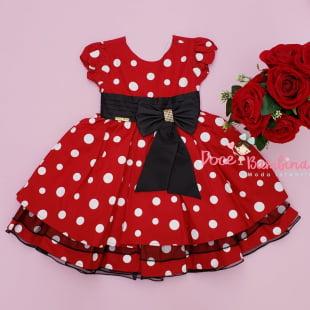 Vestido Infantil Minnie Vermelha Menina Bonita