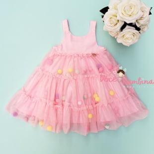 Vestido Mon Sucre Rosa Tule e Pompons