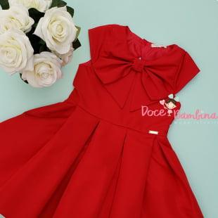 Vestido Mon Sucré Vermelho Laço