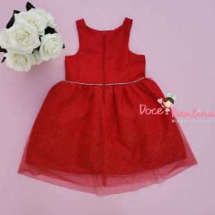 Vestido Mon Sucré Vermelho Tule e Glitter