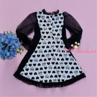 Vestido Petit Cherie Casual Corações Preto com Pochete