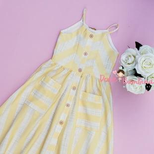 Vestido Petit Cherie Casual Midi Listras Amarelo