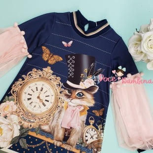Vestido Petit Cherie Casual o Gato e o Relógio