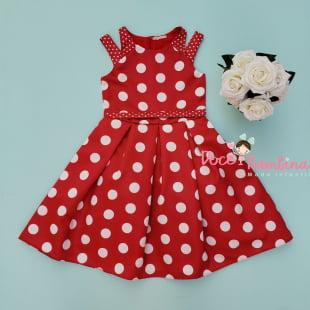 Vestido Petit Cherie de Festa Kids Poá Vermelho