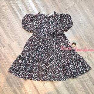 Vestido Petit Cherie Natural de Tricoline Floral Preto