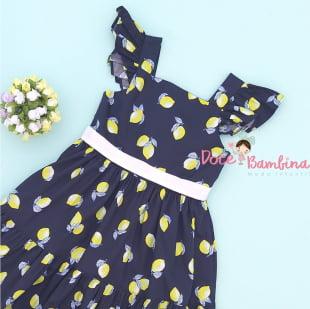 Vestido Petit Cherie Natural de Tricoline Lemon Blue