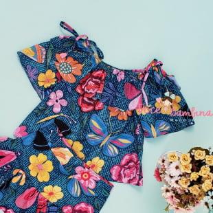 Conjunto Mon Sucré Blusa e Saia Floral Bordado
