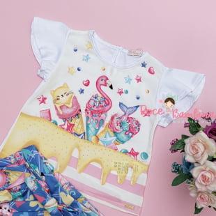 Conjunto Mon Sucré Blusa e Short Doce Flamingo