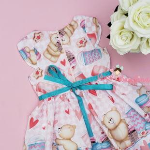 Vestido Mon Sucré Ursinho Sweets Love