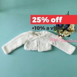 Bolero Petit Cherie Bebê de Pele Branco com Pérolas