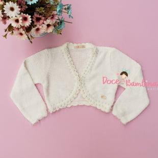 Bolero Petit Cherie Infantil Branco com Pelinhos e Pérolas