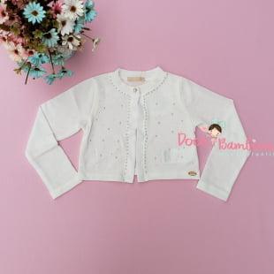 Bolero Petit Cherie Infantil Branco com Pérolas