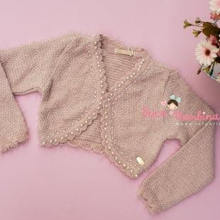 Bolero Petit Cherie Infantil Rosa com Pelinhos e Pérolas