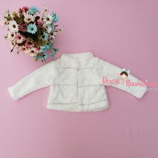 Casaco Petit Cherie Bebê de Pelúcia Branco com Strass
