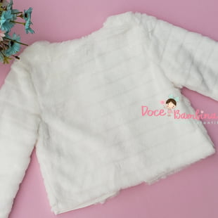 Casaco Petit Cherie Infantil Pelúcia Branco com Strass
