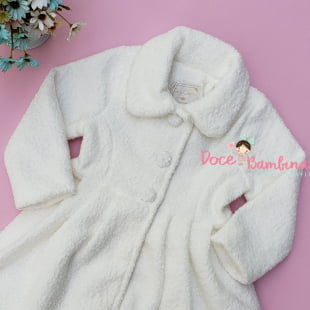 Casaco Sobretudo Petit Cherie Infantil de Pele Ibisco Branco