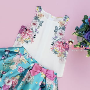 Conjunto Petit Cherie Blusa e Saia Beija Flor no Jardim