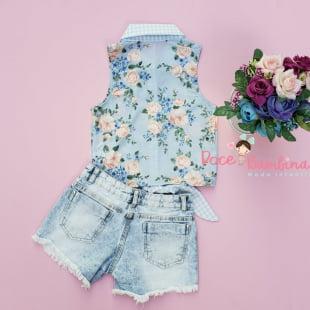 Conjunto Petit Cherie Blusa e Short Flores e Pérolas