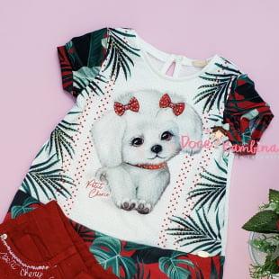 Conjunto Petit Cherie Blusa e Short Folhagens Dog Cute