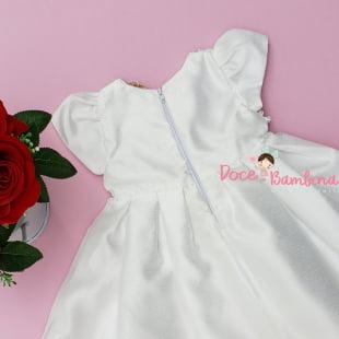 Vestido Petit Cherie Bebe Branco Laço e Renda
