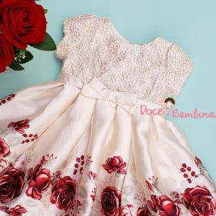 Vestido Petit Cherie Bebe Floral Bordado Luxo
