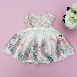 Vestido Petit Cherie Bebe Floral com Renda