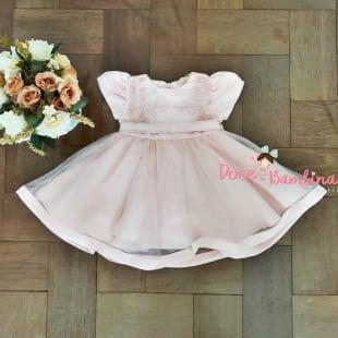 Vestido Petit Cherie Bebe Rosa Renda e Tule