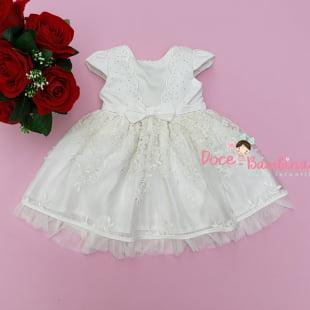 Vestido Petit Cherie Bebe Tule Bordado Branco Off