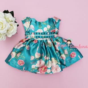 Vestido Petit Cherie Bebe Verde Rosas e Pássaros
