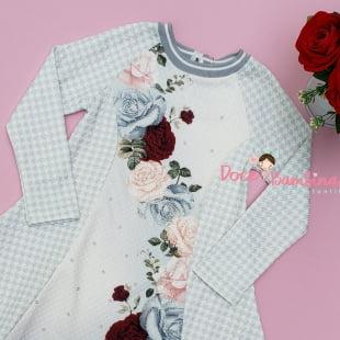 Vestido Petit Cherie Casual Estampa Pied de Poule e Rosas