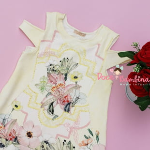 Vestido Petit Cherie Casual Flores e Beija Flor