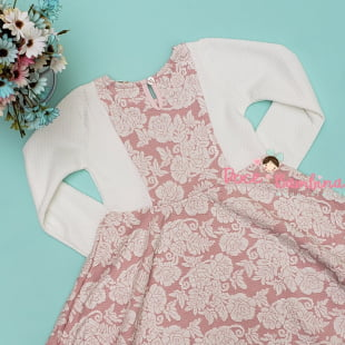 Vestido Petit Cherie Casual Malha Floral Rosa