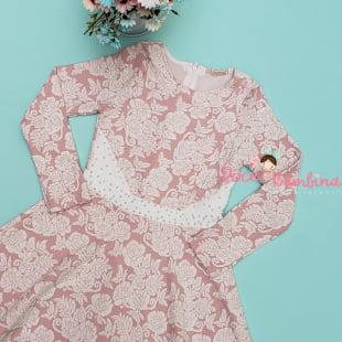 Vestido Petit Cherie Casual Malha Rosa com Pérolas